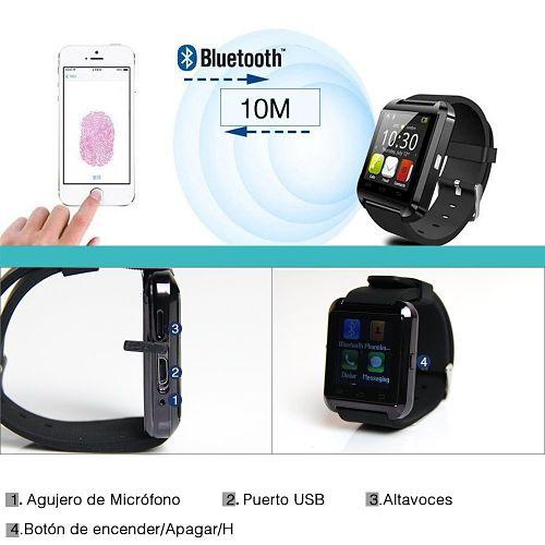 Houzon U8 Smartwatch barato puertos